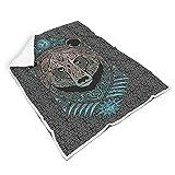 Mentmate Store Manta de oso vikingo de gran calidad, hippie, linda ropa de cama de invierno, adecuada para sofá de adultos/mujeres/hombres, regalo blanco, 150 x 200 cm