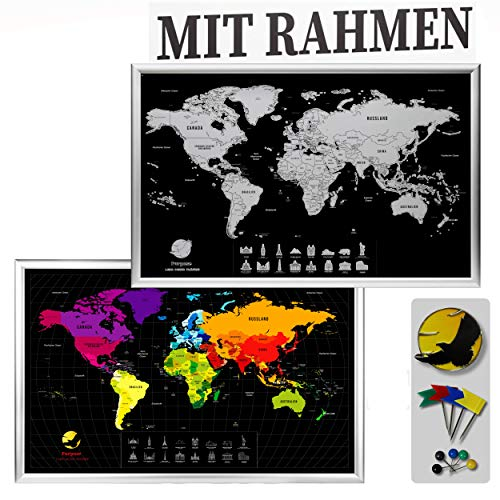 Purpose Weltkarte zum Rubbeln mit Rahmen | Hochwertig eingerahmte rubbel Scratch Map Off Karte | World Rubbelkarte zum Freirubbeln in Deutsch | Travel Landkarte Silber Schwarz XXL (84 x 54 cm)
