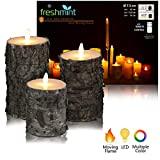 "Christmas Flameless Candles Rustic Birch Bark Battery Operated with Remote, Real Moving Flame Decorative Electric LED Candle Sets Real Wax Flickering Pillar Candles Lights Bulk, 4"" 5"" 6"" Pack of 3"