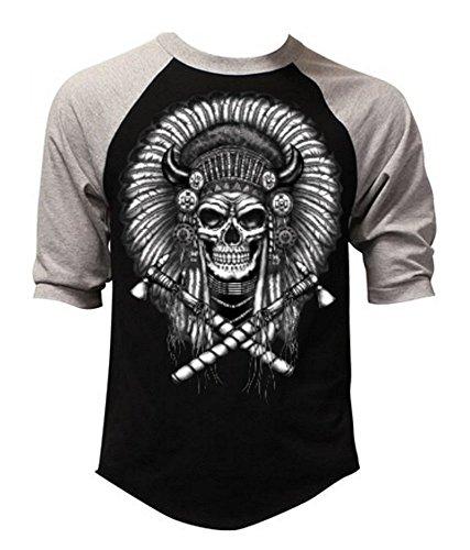 Native American Indian Chief Skull Men's Baseball T-Shirt Gray/Black S-3XL (XL, Gray/Black)