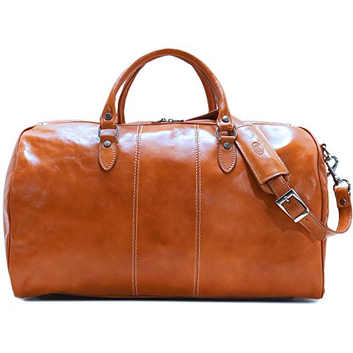 Floto Venezia Duffle Olive (Honey) Brown Italian Leather Weekender Travel Bag