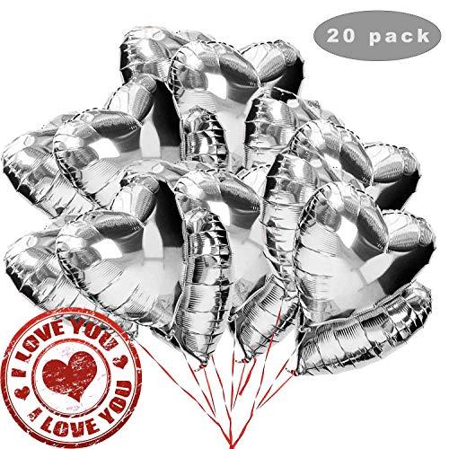Sunshine smile 20 STK 18 Zoll Silber Herz Folienballon,Herz Helium Luftballons,Folienballon Hochzeit ,Folienluftballon,Herz Ballons (Silber)