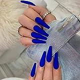 Unicra Ataúd - Uñas postizas largas de color azul oscuro con bailarina mate de acrílico natural de cubierta completa de uñas falsas de color puro, 24 piezas para mujeres y niñas
