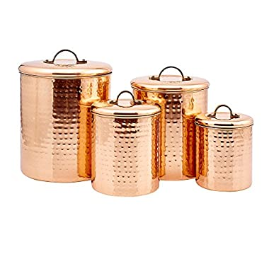 Old Dutch Hammered Copper Canister Set, Set of 4