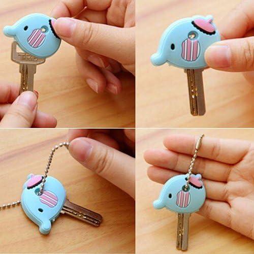 Creative Soft Cartoon Key Top Head Cover Chain Cap Keyring Phone Strap