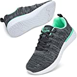 STQ Sneakers for Women Lace Up Lightweight Tennis Running Shoes Mesh Workout Athletic Shoes 8.5 Grey/Green