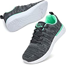 STQ Sneakers for Women Lace Up Lightweight Tennis Running Shoes Mesh Workout Athletic Shoes 7.5 Grey/Green