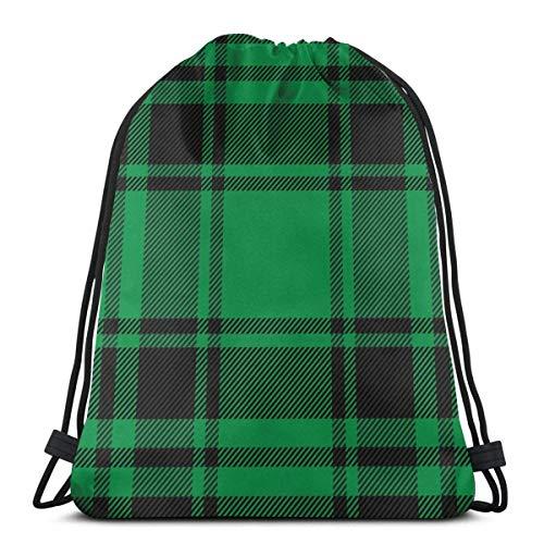 Lsjuee Patrón escocés Negro Verde Jaula Navidad Unisex Gimnasio Saco Bolsa Mochila...