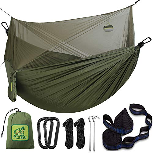 Hammock Camping Double&Single with Mosquito Net. Portable Lightweight Protective Hammock with 20Ft(Total) Tree Straps-Easy to Assemble. Perfect for Camping Backpacking Travel Hiking Outdoor Indoor