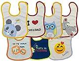Ga&Cha Baby Lätzchen, 7er-Pack, Baumwolle, weich&wasserdicht, mit niedlichen Motiven mit Klettverschluss für Kleinkinder