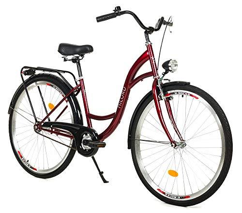 Milord. 26 Zoll 3-Gang Rotwein Komfort Fahrrad mit Gepäckträger Hollandrad Damenfahrrad Citybike Cityrad Retro Vintage