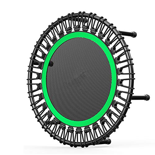 BIN 32 Inch Fitness Trampoline For Adults And Kids Round Rebounder Trampoline Exercise For Indoor Garden Workout Cardio Training Max Load 150Kg,Green