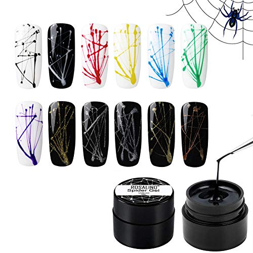 ROSALIND Spider Gel Nail Art Design Pulling Line Silk 12 Colors Set DIY Line Painting Design Lacquer...