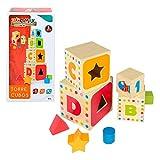 WOOMAX-Torre 4 cubos madera 37 cm y 4 figuras geométricas, colores parchís, (Colorbaby 43625)...