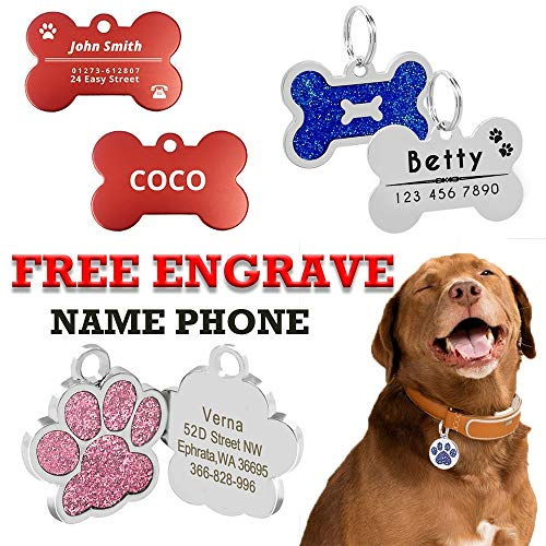 AEAP Personalized Dog ID Tags Custom Dog Tag Name Tag for Cat Puppy Pet Accessories Customized Name Address Tags Personalized MP0078