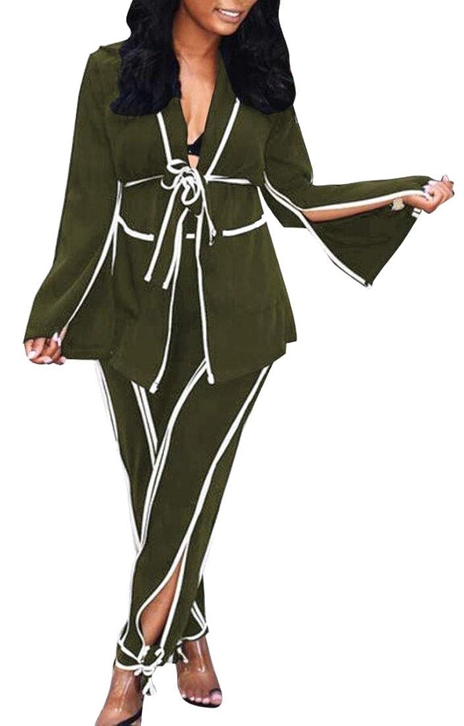 脈拍シニスタックレディースカジュアル2ピースセットタイノットブレザーバギースプリットパンツの衣装