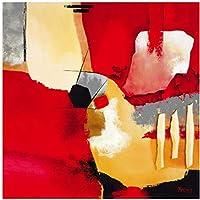 絵画 インテリア 人気のあるクリエイティブな抽象ポスターとプリント壁アートキャンバス絵画リビングルームの赤い抽象アートの写真Deor31.5x31.5in(80x80cm)x1pcsフレームなし