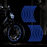 TOMALL 16''-17' Reflective Wheel Rim Stripe Decal for Motorcycle Wheels Car Cycling Bike Bicycle Night Reflective Safety Decoration Stripe Universal Rim Reflective Stickers (Blue)