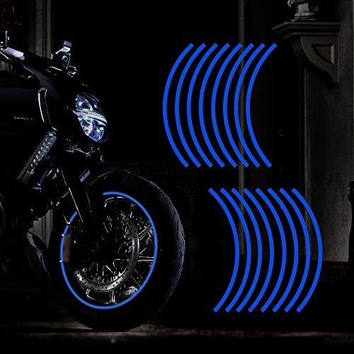 """TOMALL 17""""Adesivo Riflettente per Cerchi da Ruota per Ruote da Moto Auto Ciclismo Bici per Bicicletta Notte Riflettente per la Sicurezza Decorazione Striscia Universale (Blu)"""