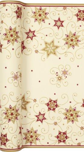 Tischläufer Rolle Stars and Swirls Gold – Sterne und Wirbel Gold/Airlaid/Tischband/Weihnachten 40cm x 4,90m