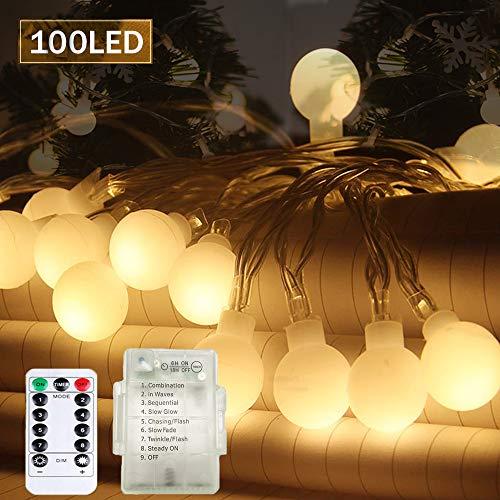 SPECOOL 100 LED Glühbirne Lichterketten, 【Fernbedienung & Timer】 39FT 8 Modi Wasserdicht Globe Lichterkette Beleuchtung Perfekt für Schlafzimmer Balkon/Hochzeit/Weihnachten,Garten - Warmweiß