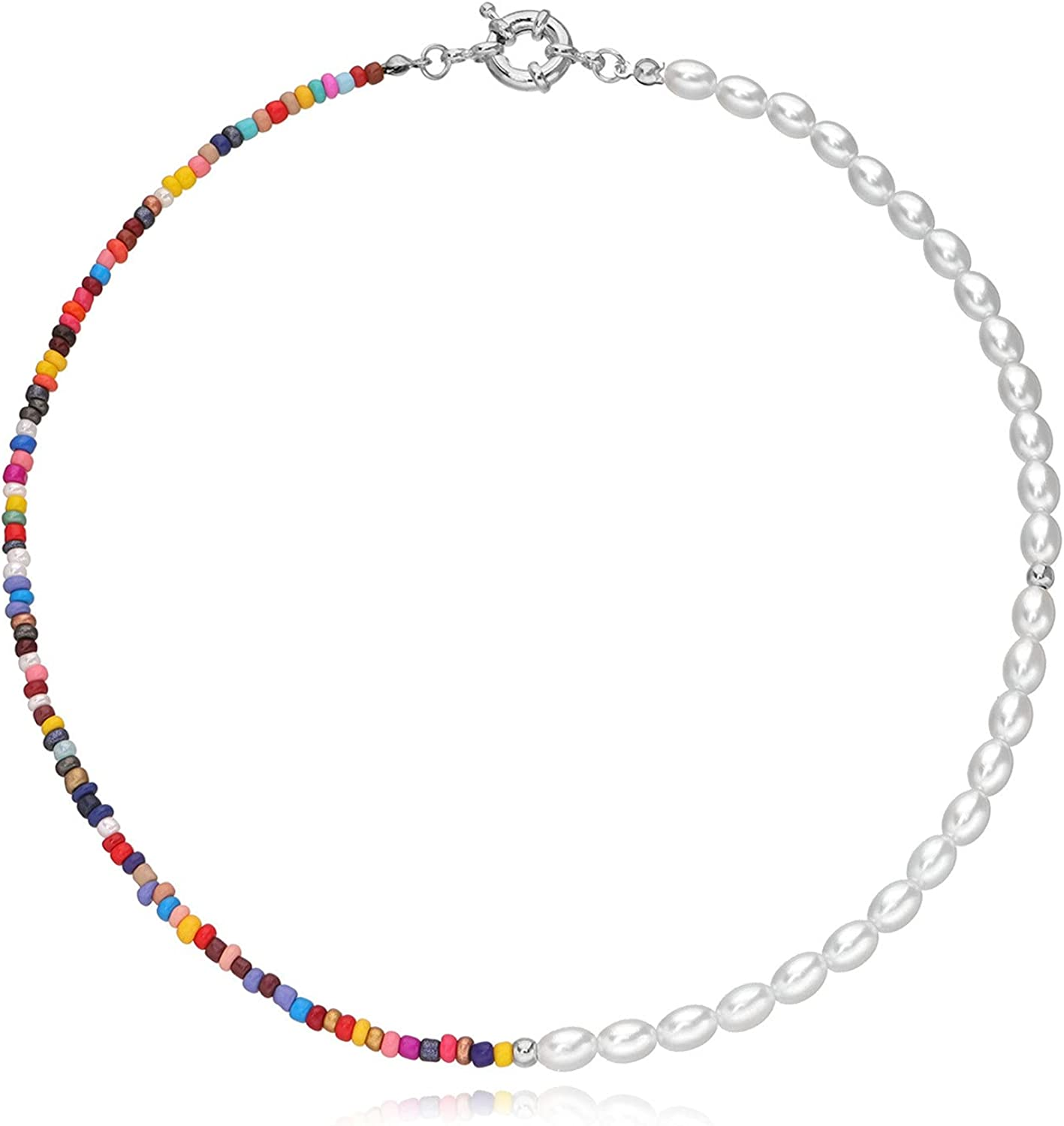 Boho Simulated Pearl Beaded Choker Summer Beach Colorful Glass Seed Beads Necklace Dainty Personalized Choker for Women Girls