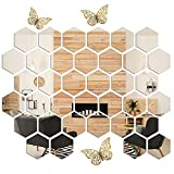 Mirror Wall Stickers,36pcs Acrylic Mirror Stickers,Hexagon Mirror Tiles Wall Decor for Home Living Room Mirror Decor,with 3pcs 3D Gold Butterfly Wall Decor