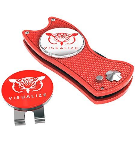 VISUALIZE Talon Plus Premium Switchblade-Style Pitchgabel Reparatur Werkzeuge - Golf Zubehör - Golf Pitchgabel mit Silikon Eule Golfballmarker mit Hutclip - 4-in-1 Multi-Tool Kit (rot)