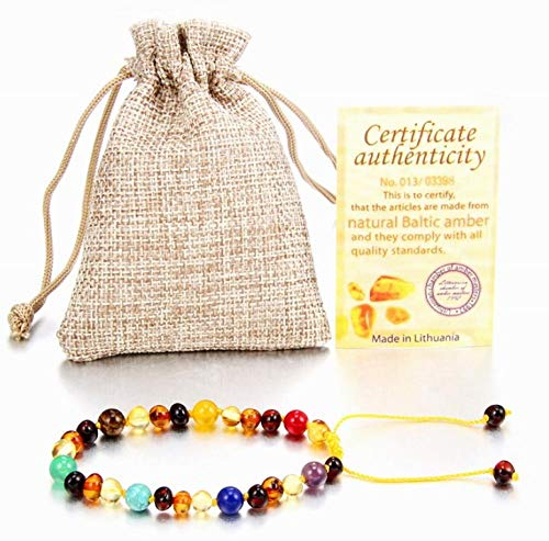 Fireflys Baltic Ambers Pulsera Natural Amber Beads Ajustable Hecho A Mano para Niños Ámbar Joyería Regalos