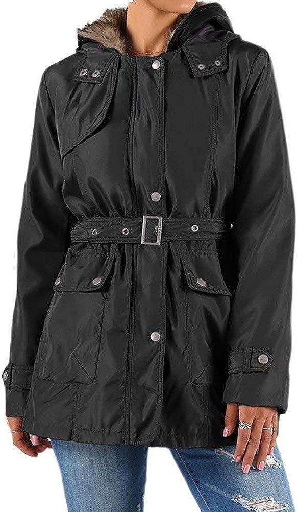 WearFun Women Hooded Fleece Coat Faux Fur Jacket Winter Warm Cardigan Outwear Pockets