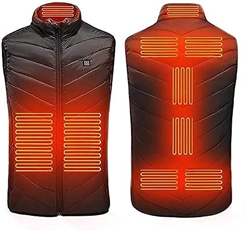 Chaleco calefactable Chaleco calefactado eléctricamente con 3 archivos de temperatura ajustable, chaqueta calefactable con inserto de carga USB, chaleco de invierno cálido lavable para hombres activid