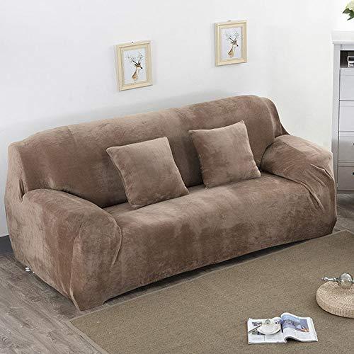 Funda de sofá elástica Gruesa de Felpa de Color sólido Funda de sofá seccional Universal 1/2/3/4 plazas Funda de sofá elástica para Sala de Estar, Camel, 1 Plaza 90,140cm