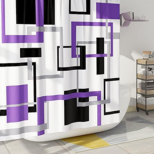 DESIHOM Violetter geometrischer Duschvorhang, schwarz, lila, moderner Duschvorhang, moderner Duschvorhang, Mitte des Jahrh&erts, dekorativer Polyester, wasserdicht, 183 x 183 cm