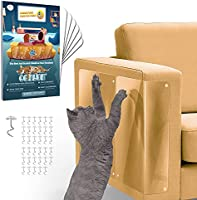 Conlun Furniture Protectors from Cats- Cat Scratch Deterrent Adhesive Sheets with Twist Pins- Anti Scratch Couch...