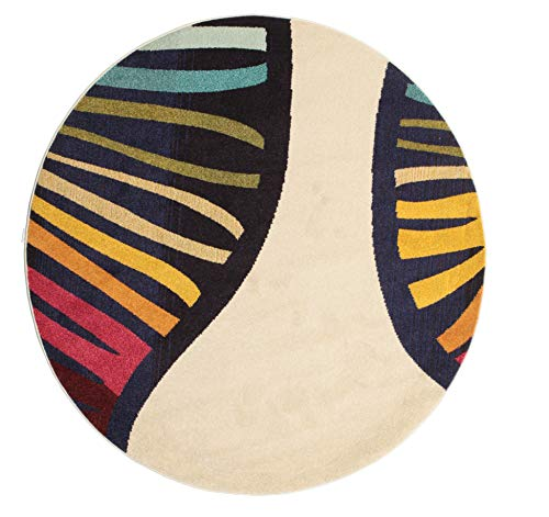 CarpetVista Alfombra Vases, Pelo Corto, Ø 200 cm, Redonda, Moderna, Oeko-Tex Estándar 100, Polipropileno, Cocina, Salón, Comedor, Multicolor