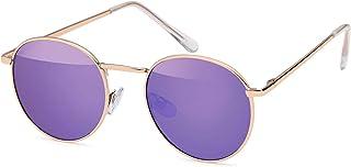 styleBREAKER Gafas de sol con forma de panto con lentes planas redondas y patillas de metal, unisex 09020077