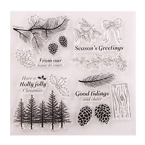Welcome to Joyful Home 1pc X-mas Forest Holly Jolly Christmas Clear Stamp for Card Making Decoration and Scrapbooking