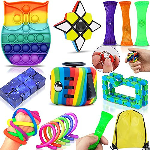 Yetech Sensorisches Spielzeug Set,Rainbow Anti-Stress Würfel Spielzeug,Bubble Sensory Toy Set,für Erwachsene Kinder Autismus ADHS Stress, Hand Spielzeug Stress-Angst Relief Spielzeug Set