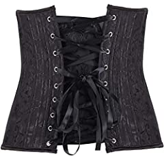 Sweetlover Women's Plus Size Bridal Lingerie Lace up Satin Boned Corset + G-String, Black 1, 16-18 #2