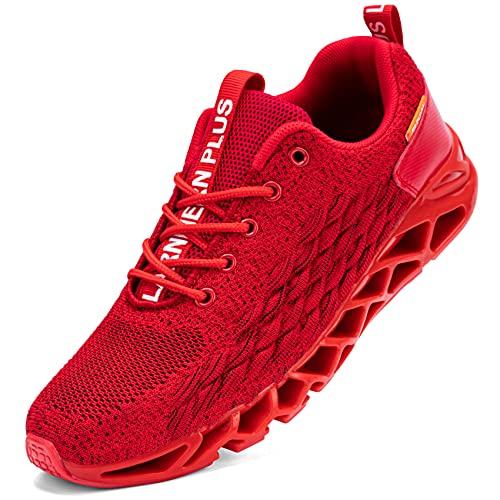 LARNMERN Zapatillas de Deporte Hombres Ligero Transpirable Running Zapatos para Correr Gimnasio Casual Sneakers Deportivas(Rojo 46)