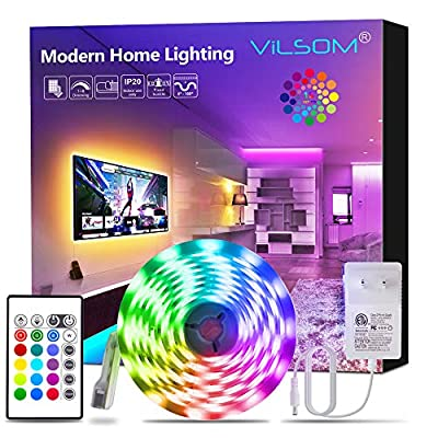 ViLSOM Led Strip Lights 16.4 Feet RGB 5050 Led Light Strip Kit with Remote and 12V Power Supply Led Lights for Bedroom, Room, TV, Kitchen and Home Decoration Bias Lighting