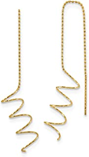 14k Yellow Gold Spiral Tassel String Threader Earrings Drop Dangle Fine Jewelry For Women Gifts For Her