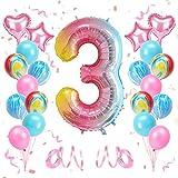 KATELUO Globo de Cumpleaños 3 Años, Decoración de Cumpleaños 3 Años, Globo Numero 3 Gigante, Cumpleaños Globos 3 Años Niña, Globos de Cumpleaños Niña 3 Años para Fiestas de Cumpleaños