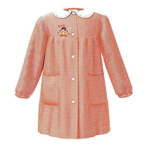 siggi Grembiule bambina scuola dell'infanzia, bottoni, quadretto arancio/bianco (quadretto rosa/bianco, 65-6 anni - 116 cm)