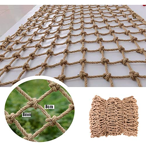 Safe Net Balcony Stair Protection Anti-fall Net Hemp Rope Net Vintage Industrial Style Decoration,Garden Mesh Netting ,Natural Jute Material,Easy To Install And Easy To Replace,for Home Bar Cafe,8mm/8
