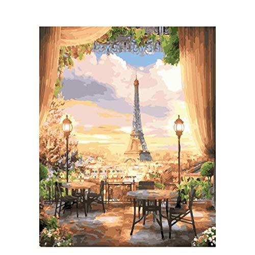 DIY Schilderen op nummer kinderen schilderen kitSunset landschap ijzeren toren handgeschilderde frameloze schilderij 40x50CM