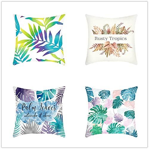 4 Pack Throw Pillow Case 45x45cm Funda de Almohada Decorativa Cuadradas Algodón de Lino Doble Cara con Cremallera Invisible para Exterior Sofá Dormitorio Coche(Flores De Hojas Tropicales,18x18inch)
