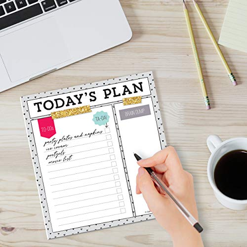 """Carson Dellosa Today's Plan Notepad—5.75"""" x 6.25"""" Paper Stationery To Do List, Checklist, Important Notes, Reminders, Planning, Daily Organizer (50 sheets)"""