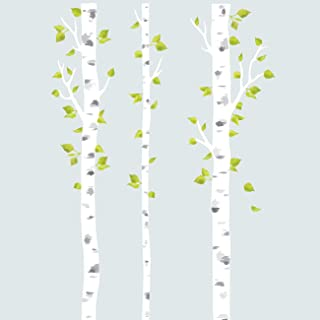 DECOWALL DLT-1714 White Birch Trees Fabric Wall Decals Wall Stickers Removable Reusable Peel and Stick Non Toxic for Kids Nursery Bedroom Living Room