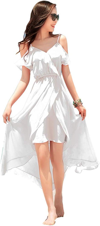 Clothing & Accessories Women Dresses Casual Ladies Beach Dress Resort Seaside Dress Female Summer Sling Dress Pool Party Dress Loose Wild Irregular Skirt (color   White, Size   S)